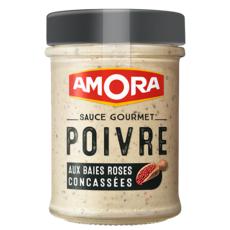 AMORA Sauce gourmet poivre aux baies roses concassées 188g