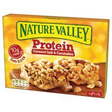 NATURE VALLEY Barres cacahuètes et amandes enrobées caramel salé sachets individuelles 4 barres 160g