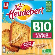 HEUDEBERT Biscottes bio aux 3 céréales et 3 graines 2x18 biscottes 300g