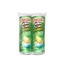 PRINGLES Tuile salée saveur crème et oignons 2x175g
