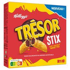 KELLOGG'S Trésor stix céréales fourrées chocolat noisettes 5x20.5g