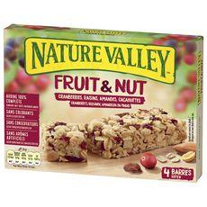 NATURE VALLEY Barres de céréales fruit et nut cranberries, raisins, amandes et cacahuètes  4 barres 120g