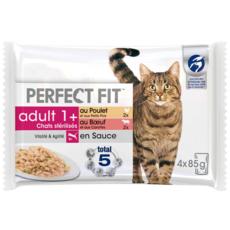 PERFECT FIT Adult 1+ Repas en sauce pour chat stérilisé sachet fraicheur 4x85g