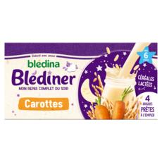 BLEDINA Blédîner brique céréales lactées aux carottes dès 6 mois 4x250ml