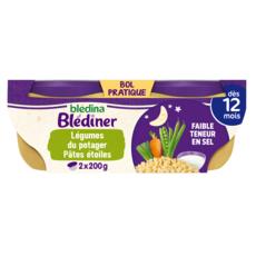 BLEDINA Blédîner bol légumes du potager pâtes étoiles dès 12 mois 2x200g