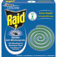 RAID Spirales anti-moustiques & moustiques-tigres 10x6 heures 10 spirales