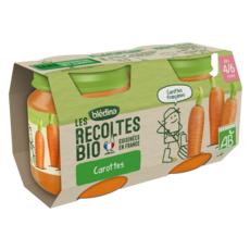 BLEDINA Petit pot carottes bio dès 4 mois 2x130g
