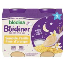 BLEDINA Blédîner petit pot semoule vanille fleur d'oranger dès 6mois 2x200g