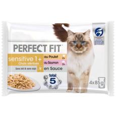 PERFECT FIT Sensitive Sachets fraîcheur en sauce 2 variétés chat stérilisé 4x85g