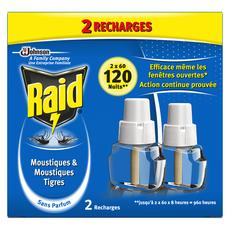 RAID Recharges diffuseur électrique anti-moustiques & moustiques-tigres efficace 120 nuits 2 recharges