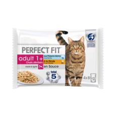 PERFECT FIT Adult 1+ sachets repas sauce pour chat stérilisé 4x85g