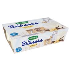 BLEDINA Les brassés petit pot dessert à la vanille dès 6 mois 6x95g
