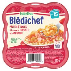 BLEDINA Blédichef assiette pâtes étoiles tomate jambon dès 15 mois 250g