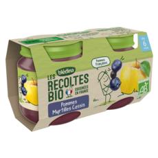 BLEDINA Petit pot dessert pommes myrtilles et cassis bio dès 6 mois 2x130g