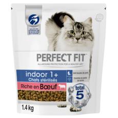 PERFECT FIT Indoor 1+ Croquettes pour chat stérilisé au boeuf  1,4kg