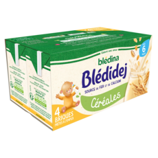BLEDINA Blédidej Céréales lactées en briques prêtes à l'emploi dès 6 mois 4x250ml
