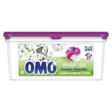 OMO Capsules de lessive 3 en 1 jasmin et fleur de coton 27 lavages 27 capsules