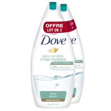 DOVE Gel douche sans savon à l'eau micellaire pour peaux sensibles 2x750ml