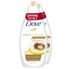 DOVE Gel douche surgras a l'huile d'argan 0% sulfate SLES 2X750ml