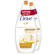 DOVE Gel douche surgras pour peaux sèches 2x750ml