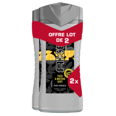 AXE Gel Douche Homme 3en1 Yuzu & Matcha Vert peaux sensibles 2x250ml