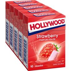 HOLLYWOOD Chewing-gums sans sucres goût fraise 5x10 dragées 70g