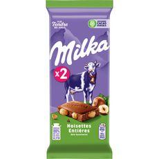 MILKA Tablette de chocolat au lait et noisettes entières 2 pièces 2x100g