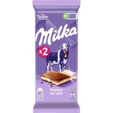 MILKA Tablette de chocolat au lait tendre au lait 2 pièces 2x100g