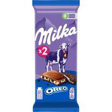 MILKA Tablette de chocolat au lait et Oréo 2 pièces 2x100g