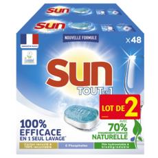 SUN Tablettes lave-vaisselle tout-en-1 écologique 96 lavages 2x48 tablettes