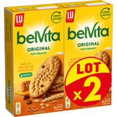 BELVITA Original Biscuits petit-déjeuner miel et pépites de chocolat Lot de 2 2x435g