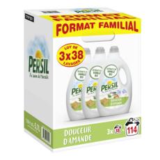 PERSIL Lessive liquide au savon de Marseille et à la vanille bio 3 bouteilles de 38 lavages 5,7l