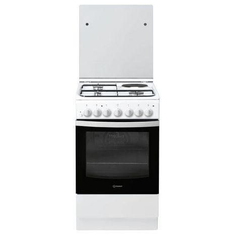 INDESIT Cuisinière mixte IS5M5PCW/F, 50 cm, 3 foyers à gaz, 1 électrique, Four multifonction, Nettoyage catalyse