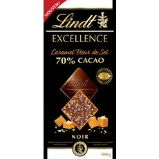 LINDT Excellence Tablette de chocolat noir 70% avec éclats caramel de sel 100g