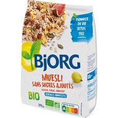 BJORG Muesli de céréales bio sans sucres ajoutés 375g