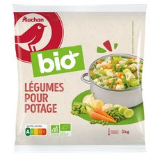 AUCHAN BIO Mélange de légumes pour potage 6 portions 1kg