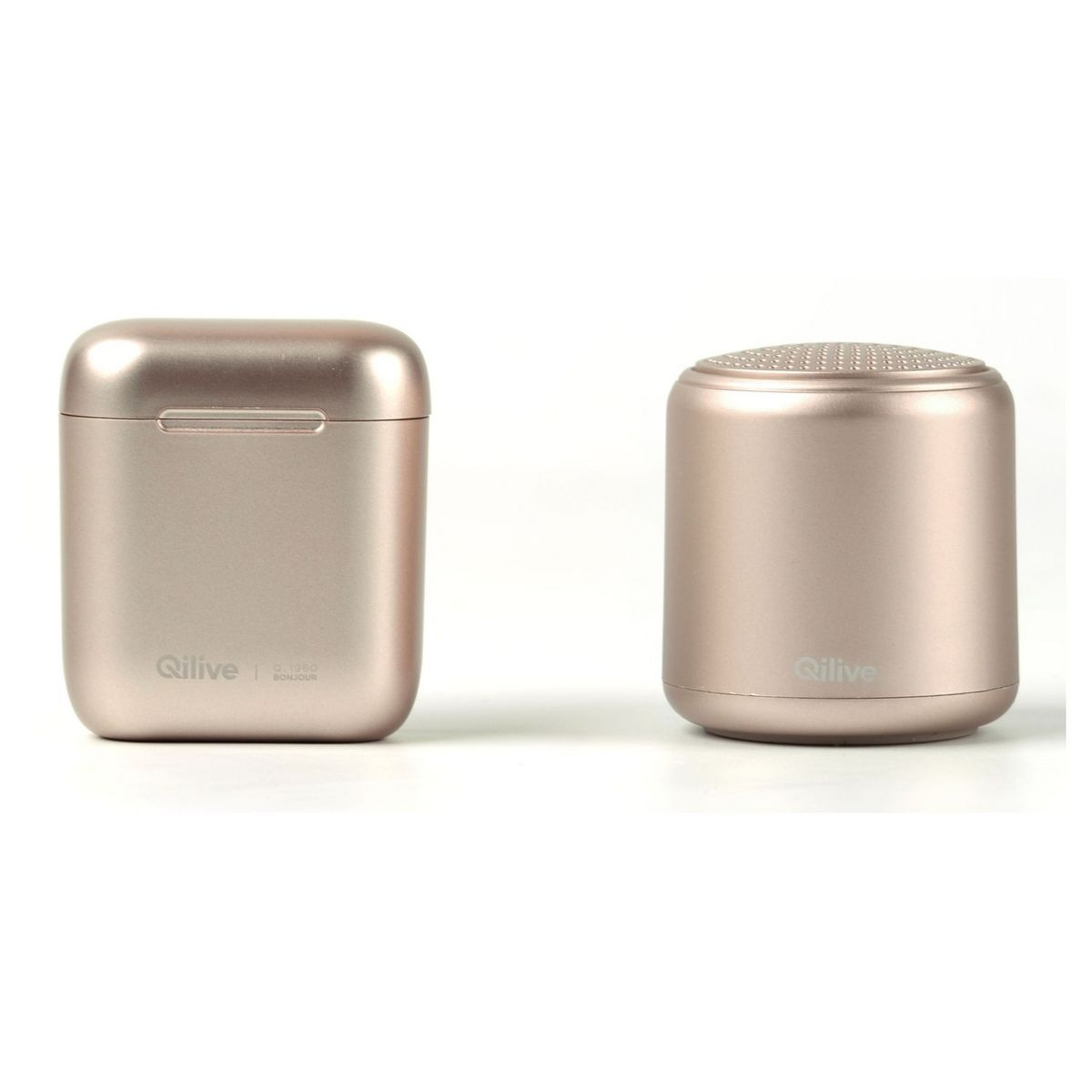 Pack Ecouteurs TWS avec boitier + Enceinte Mini - Champagne