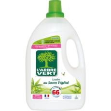 L'ARBRE VERT Lessive liquide concentrée au savon végétal hypoallergénique 66 lavages 3l
