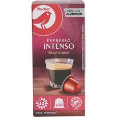 AUCHAN Capsules de café espresso intenso n°10 compatibles Nespresso 10 capsules 52g