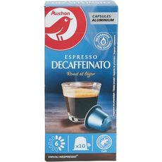 AUCHAN Capsules de café espresso décaféiné intensité 6 compatible Nespresso 10 capsules 52g