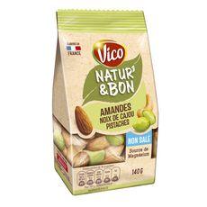 VICO Natur'&Bon mélange amandes noix de cajou pistaches non salé 140g