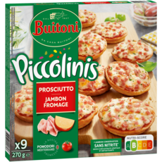 BUITONI Piccolinis mini pizza au jambon et fromage 9 pièces 270g