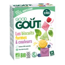 GOOD GOUT Goûter biscuits formes et couleurs framboise basilic myrtille fleur d'oranger bio dès 10 mois 80g