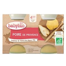 BABYBIO Petit pot dessert poire bio dès 4 mois 2x130g