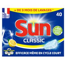 SUN Tablettes lave-vaisselle classic citron 40 lavages 40 tablettes