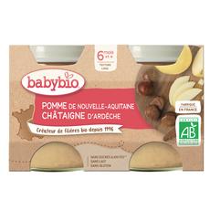 BABYBIO Petit pot dessert pomme châtaigne bio dès 6 mois 2x130g