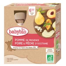 BABYBIO Gourde dessert pomme poire pêche bio dès 6 mois 4x90g