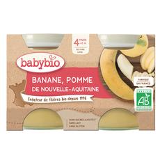BABYBIO Petit pot dessert pomme banane bio dès 4 mois 2x130g