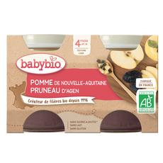 BABYBIO Petit pot dessert pomme pruneau bio dès 4 mois 2x130g