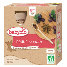 BABYBIO Gourde dessert prune bio dès 6 mois 4x90g
